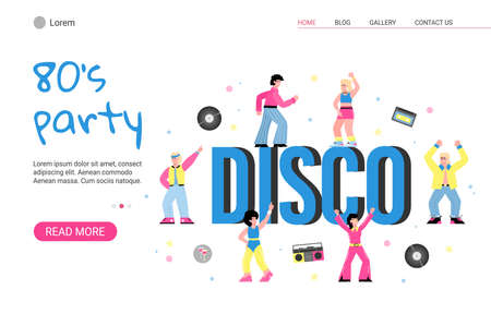 80s retro disco party with dancing people. Men and women in fashion clothes in the eighties. Vector flat cartoon illustration. Landing page template