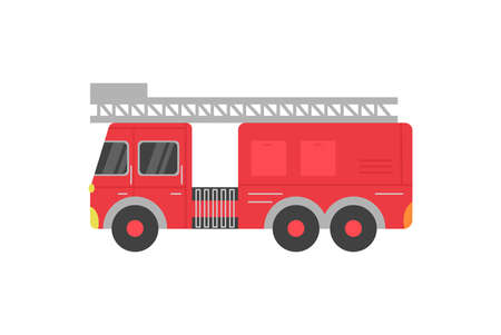 Fire rescue red truck with ladder cartoon icon, flat vector illustration isolated on white background. Fire department transport or vehicle, side view fire car. Ilustración de vector