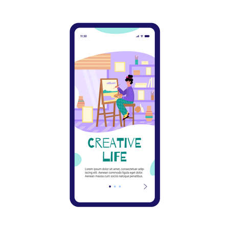Young artist painting nature landscape scenery at home onboarding page for mobile app. Woman recreating doing her favorite hobby, flat cartoon vector illustration