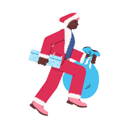 A young man in a santa claus costume runs holding boxes and a large bag with new year and Christmas gifts. Vector illustration isolated on a white background.