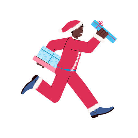 Black skin man character in red Santa costume rushing with gifts, cartoon flat vector illustration isolated on white background. Christmas shopping and sales personage.