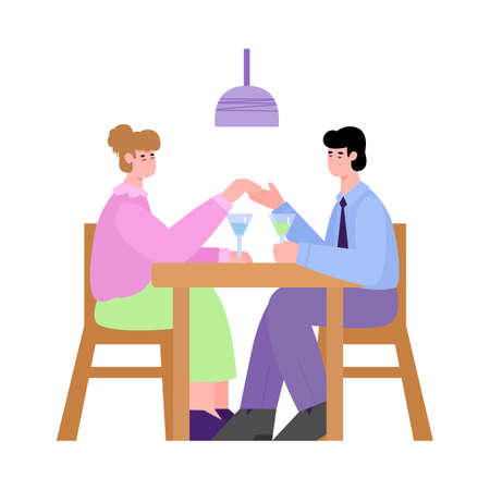 Couple having romantic dinner and talking, flat cartoon vector illustration isolated on white background. Couple joint recreation and bonding of relationships.