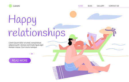 Happy relationship web banner template with couple spending summer vacation together, flat vector illustration. Landing page layout to reinforce pair bond.