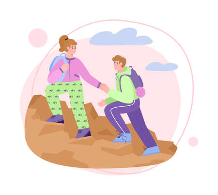 Romantic couple climbing up cliff or mountain, flat cartoon vector illustration isolated on white background. Pair of hikers or tourists man and woman helping each other.