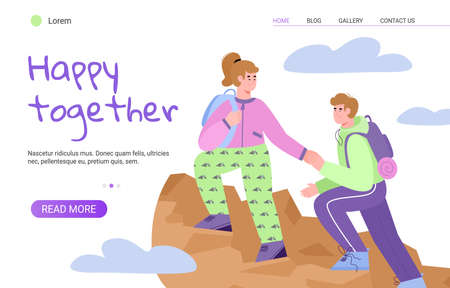 Website banner template with young couple feeling happy together and spending joint vacations in bonding couple activity, flat cartoon vector illustration.