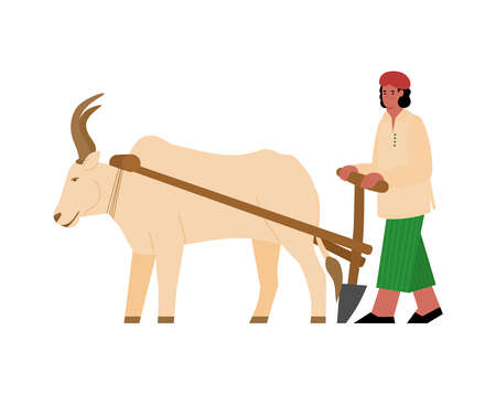 Indian farmer plows with plough with pulled ox. Seasonal preparation of field for sowing. Traditional agriculture or rural farm in India. Vector flat cartoon isolated illustration.