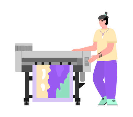 Industrial print production with inkjet, digital, offset printers in printing house. A man works with printing equipment. Vector illustration isolated on a white background.