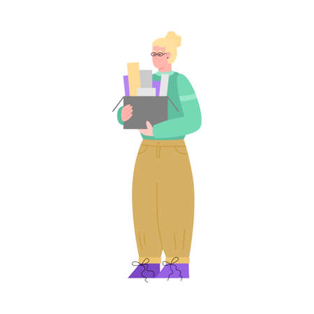 Female office worker or printing house employee holds box of documents, color or paper samples. Industrial print production or advertising agency. Vector isolated illustration