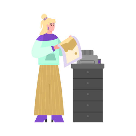 Woman cartoon character printing on professional offset printing or copying equipment, flat vector illustration isolated on white background. Print and copy services.