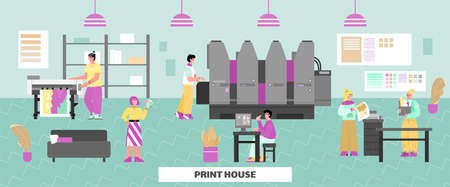 Interior of printing house or advertising agency. Technology of industrial print production with inkjet, digital, offset printers. Office with machines, workers and designers