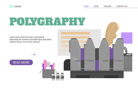 Polygraphy service website banner template flat vector illustration on white background. Printing and presswork service of print house advertising web page.