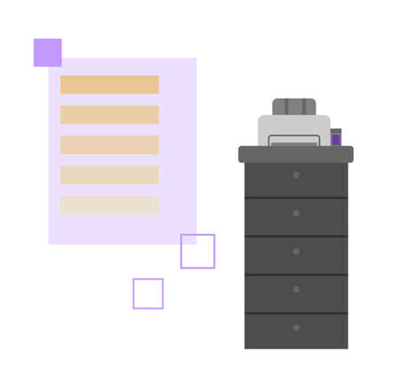 Modern polygraphy printing equipment, flat cartoon vector illustration isolated on white background. Polygraphy and typography, copy center facilities for printing. Vettoriali
