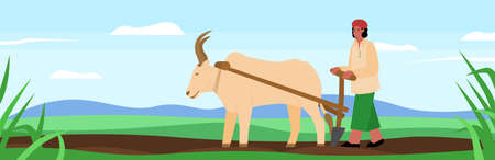 Indian farmer plowing the land on a buffalo, flat cartoon vector illustration. Agricultural scenery background of Indian farmer or peasant work in field.