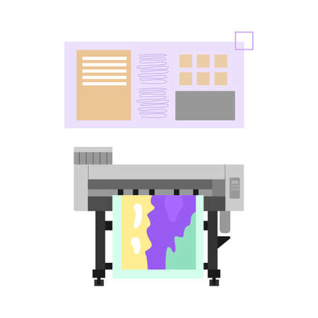 Industrial printer production, advertising agency or printing house with print equipment. Vector illustration isolated on a white background