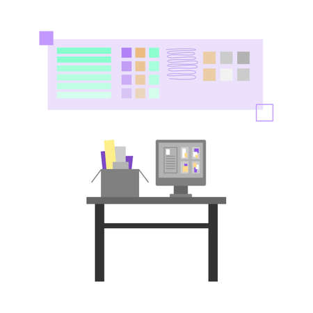 Workplace of polygraphy designer or prepress engineer in printing house, publishing or advertising agency. Creating art digital layouts. Flat isolated vector illustration Vettoriali