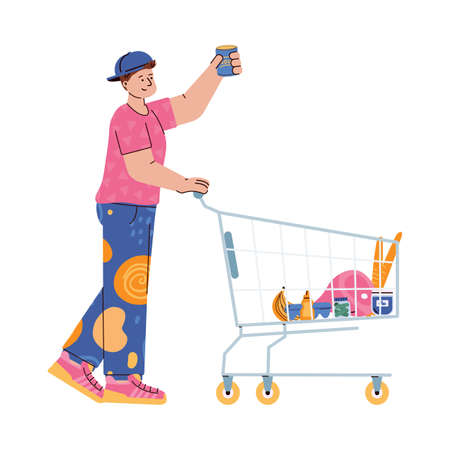 Man pushing a shopping trolley and taking goods from grocery shelf, flat vector illustration isolated on white background. Cartoon character of supermarket buyer.