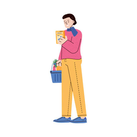 Woman shopping goods and stacking products into supermarket basket, flat cartoon vector illustration isolated on white background. Grocery shop or store buyer.