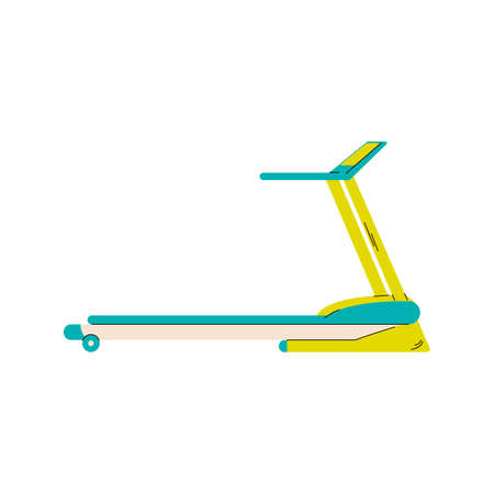 Sport treadmill cartoon icon in blue and yellow colors, flat vector illustration isolated on white background. Gym room equipment element for run and walk. Vecteurs