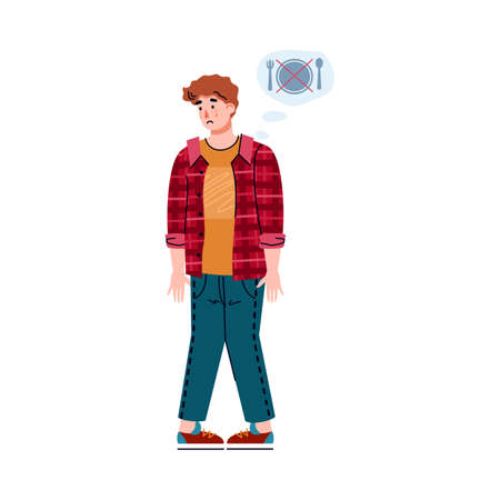 A person with one of the symptoms of food poisoning. Young man suffers from loss of appetite. Vector isolated illustration. Illusztráció