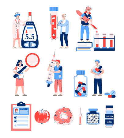 Set of diabetes infographic elements with cartoon characters, flat vector illustration isolated on white background. Diabetes medicamentation, diagnosis and treatment.