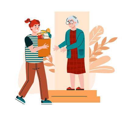To door delivery for elderly people with volunteer man bringing grocery bag for senior woman. Man helping and supporting old aged lady, flat cartoon vector illustration. Vecteurs
