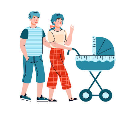 Young parents - husband and wife walk with a newborn baby lying in a pram. Happy parenthood and maternity. Vector isolated illustration. 向量圖像