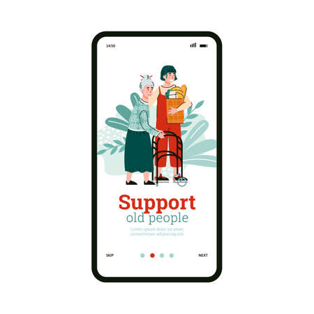 Phone screen with mobile app for support, help aged people with disabilities. Girl social worker or volunteer aids of old, sick female patient with walkers. Vector illustration. 矢量图像
