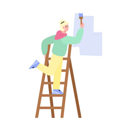 Craftsman master paints the wall with a brush, standing on a folding ladder, flat cartoon vector illustration isolated on white background. Painter or decorator working.