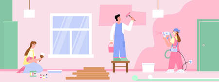 Brigade of painters painting walls in room, flat cartoon vector illustration. Promo banner for coloring works of renewal service, design and painting of premises. Ilustración de vector
