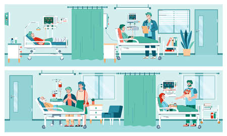 Set of hospital ward interiors with patient, doctor and relatives cartoon characters, flat vector illustration. Banners on topic of hospital stays and healthcare. 矢量图像