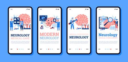 Onboarding screens bundle for Neurology medicine with cartoon people, flat vector illustration. Human brain neurological diseases treatment and specialists consultation. Vector Illustration