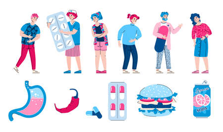 Set of icons of gastroenterological diseases and abdominal pain with people suffering from stomach ache, flat cartoon vector illustration isolated on white background.