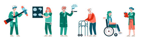 Neurology medicine banner with doctors neurologists and patients, flat cartoon vector illustration on white background. Treatment of patients with neurological disorders. Vector Illustration