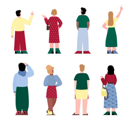 People in casual clothes are standing in different poses with backs turned. Set of male and female characters rear view. Men, women behind. Vector isolated illustrations.