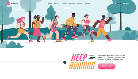 Landing page template with app for sports training, marathon, race, workout or competition. Group of persons keep running in outdoors. Vector illustration.