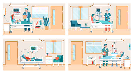 Hospital ward scenes set with doctors and patients cartoon characters, flat vector illustration. Health clinic patients receive intensive therapy treatment.