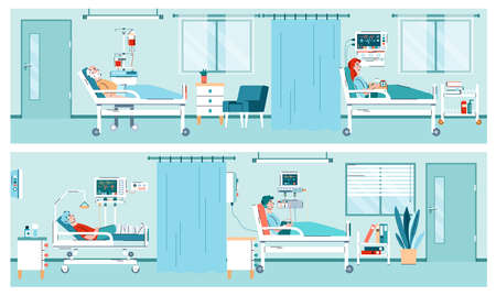 Two banners with interior of hospital room with equipment and patients lying in medical beds. Hospitalization, treatment, health care in clinical hospital ward. Vector illustration