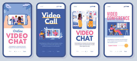 Set of vector mobile phone screens with app for online communication of friends or family. Video chat, conference or call via internet for people who is far away or stay home.