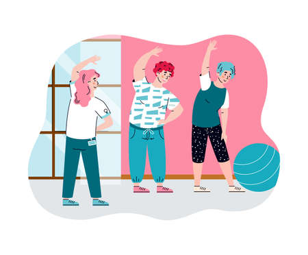 Rehabilitation and physiotherapy banner with people doing physical exercises after injuries, flat cartoon vector illustration isolated on white background.