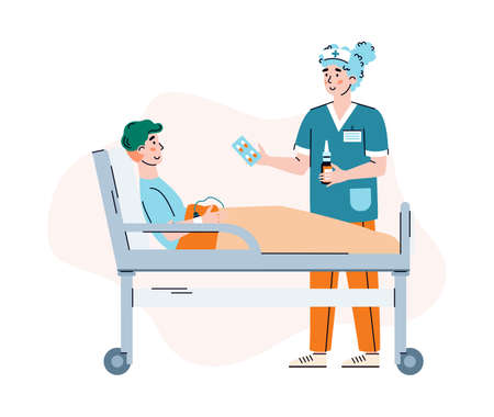 Woman doctor is taking care for patient lying in medical hospital bed. Nurse give medicaments for treatment of ill man. Vector illustration isolated on a white background