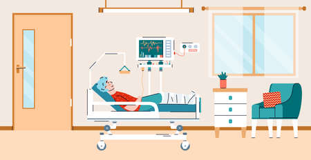Patient connected to equipment monitors in a hospital ward, flat cartoon vector illustration. Hospital room with patient lying on bed and getting treatment.