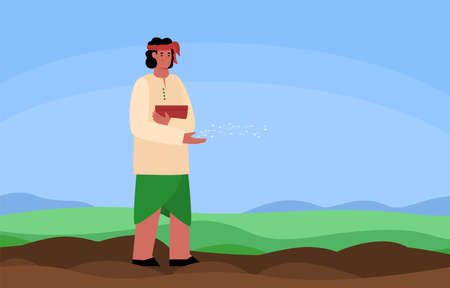 Indian farmer or peasant worker spreading seeds in the field, flat vector illustration. Sowing and planting of agricultural crops in India, plant growing.