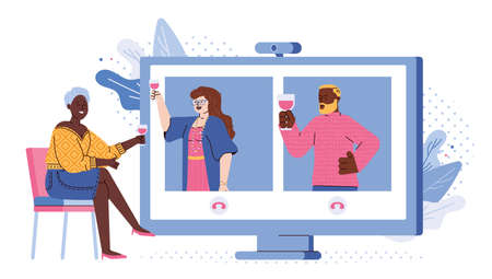 Concept of video chat, online meeting, virtual party or remote communication with friends. Girl in home drink wine with family who far away or in quarantine. Vector illustration  イラスト・ベクター素材