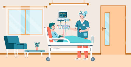 Interior of modern ward with medical equipment, a ill man patient lying on hospital bed and woman doctor giving him medication for treatment. Vector illustration. Vecteurs