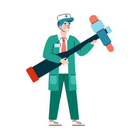 A character of doctor neurologist with huge reflex hammer. Medical practitioner is diagnosis and treatment of neurology disease in clinic or hospital. Vector isolated illustration.