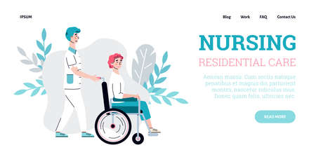 Nursing residential care website banner template with cartoon characters of nurse and disabled person, cartoon vector illustration. Nursing and care for sick and old.