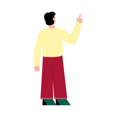 Brunette man standing his back and pointing with his hand up, flat cartoon vector illustration isolated on white background. Rear view of guy with pointing gesture.