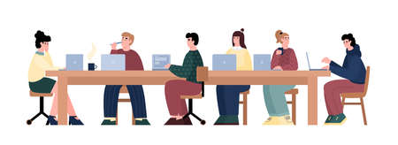 Hackathon team of programers and developers sitting at table and deciding common technical task, flat cartoon vector illustration isolated on white background.