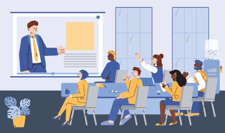 Distant meeting of company leader and employees at business training, presentation, seminar. Coach speaker speaks online conference for people lecture listeners. Vector illustration