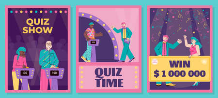 Quiz show banners or posters set with cartoon characters, flat vector illustration on bright background. Quiz intellectual competition advertising posters bundle.